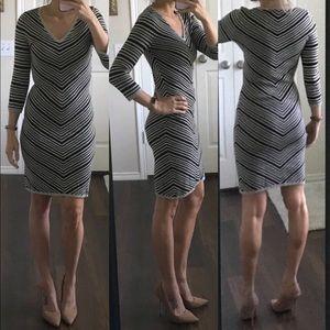 Max Studio white ivory black chevron striped dress